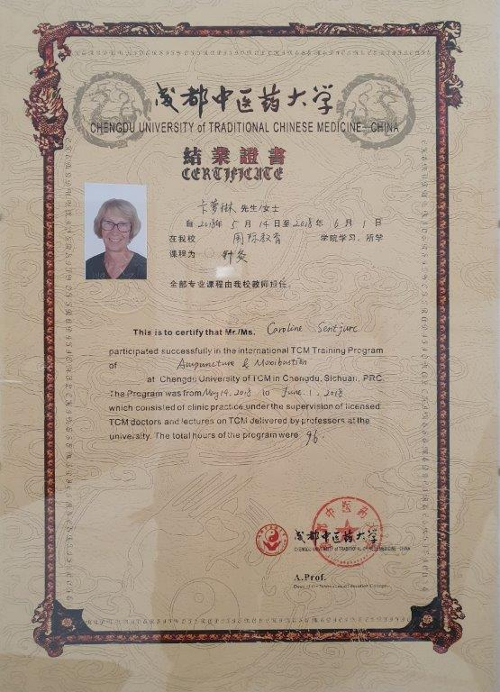 TCM- und Akupunktur-Zertifikat der Chengdu University